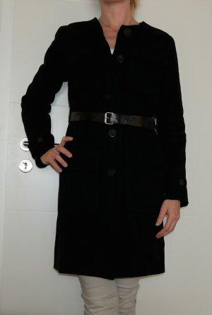Original Burberry Damen Wollmantel Gr.34 XS schwarz Wintermantel Mantel Jacke ohne Kragen Trenchcoat