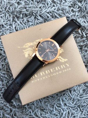 Burberry Watch With Leather Strap dark brown-gold-colored