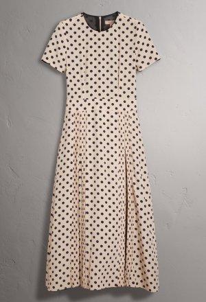 Burberry A Line Dress natural white-dark brown silk