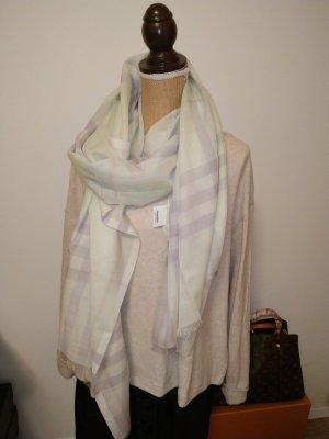 Burberry Écharpe à franges gris clair-vert pâle laine