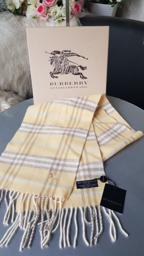 Burberry Cashmere Scarf oatmeal-pale yellow
