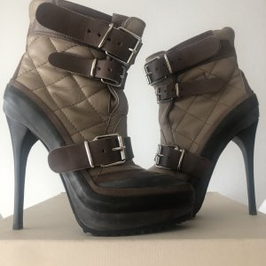 Burberry Platform Booties taupe-grey brown leather