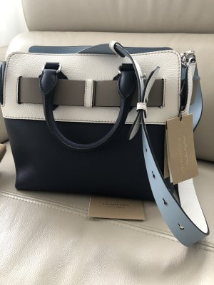 Burberry London Handbag white-steel blue leather