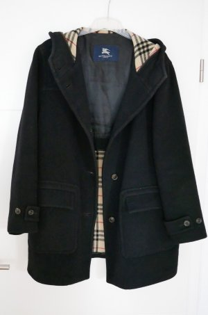 Original Burberry Wollmantel Gr.42/XL schwarz Wintermantel Kapuze Mantel Kapuzenmantel Wolle Luxus