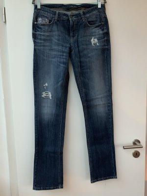 Original Cambio Jeans Größe 38 dunkelblau mit Pailletten Details, gerade geschnitten mit Stretch