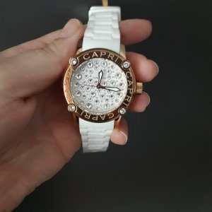 Watch With Leather Strap white-rose-gold-coloured