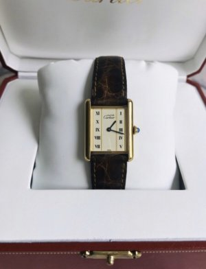 Cartier Watch With Leather Strap multicolored