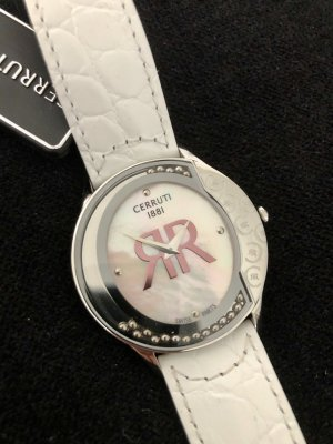 cerruti 1881 Watch With Leather Strap white-silver-colored