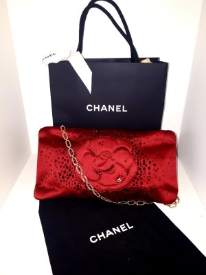Original Chanel Camellia Diamante Satin Clutch