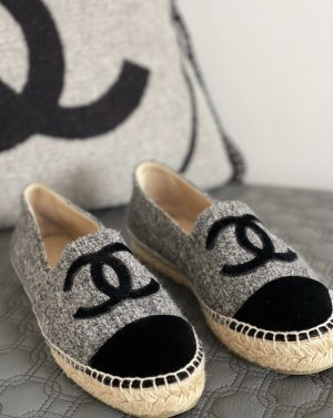 Original Chanel Espadrilles / flache Schuhe Herbst/Winter grau tweed jute  loafer slipper