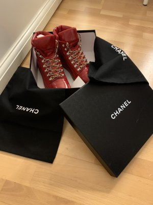Chanel Lace-Up Sneaker red
