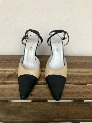 Original Chanel Two-Tone Pumps 37,5 Absatz spitz Pfennigabsatz High Heels