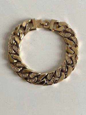 Original Christian Dior Armband 18K Gold vg Panzerarmband Gliederarmband Swarovski Kristalle