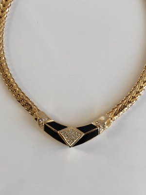 Original Christian Dior Kette 18 kt vg Gold Luxus Vintage Goldkette Bicolor Necklace collier massiv