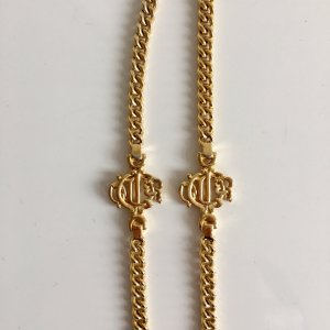 Original Christian Dior Logo Monogram Kette 18 kt Gold Luxus Vintage Goldkette Necklace collier
