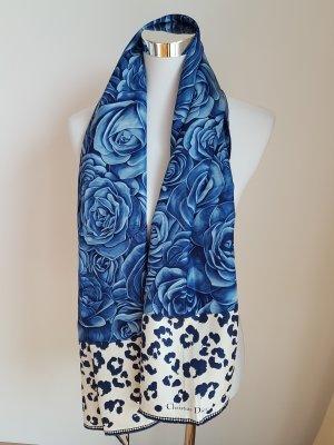 Christian Dior Bufanda de seda blanco puro-azul Seda