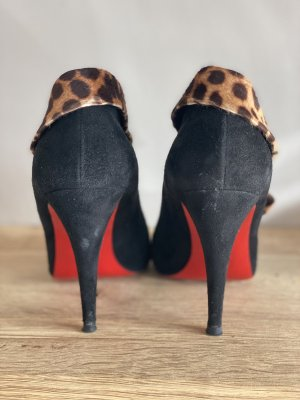 Original Christian Louboutin Black Suede and Leopard Print Pony Hair Charme 100