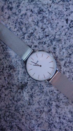 Cluse Horloge met metalen riempje wit-zilver