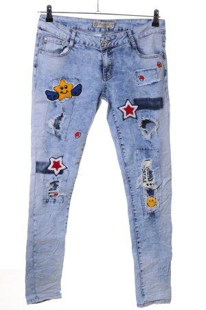 Skinny Jeans blau Motivdruck Casual-Look