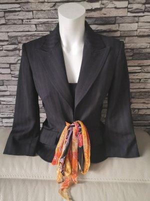 Original Dolce & Gabbana Blazer schwarz mit Orangen seiden Gürtel Gr S 36