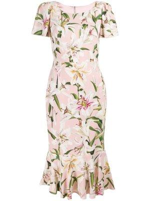 Dolce & Gabbana Robe à volants vieux rose viscose