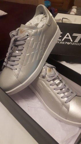 Armani High Top Sneaker silver-colored leather