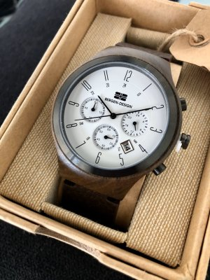 Analog Watch dark brown-white wood