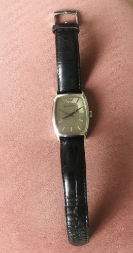 Emporio Armani Watch With Leather Strap silver-colored-black