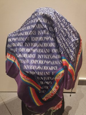 Emporio Armani Pañuelo de seda azul-lila Seda