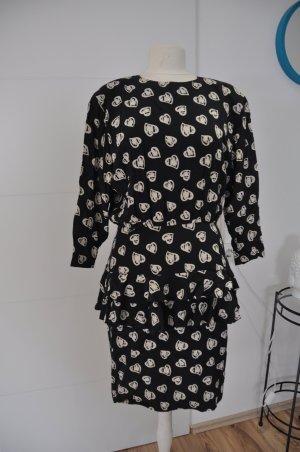 Escada Vestido negro-blanco Seda