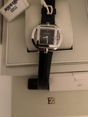 Escada Horloge met lederen riempje zwart-zilver