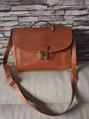 Original Escada Vintage Umhängetasche Schultertasche Tasche echt Leder braun Schloß Schlüssel