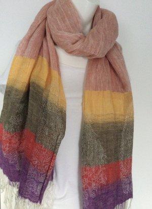 Etro Écharpe à franges multicolore lin