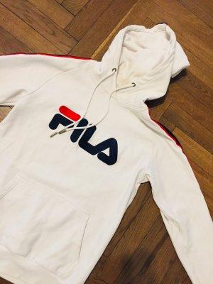 Original FILA Sweatshirt Hoodie Weiss Gr. S mit Logo Print Kapuzenshirt