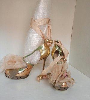 Original Galliano Pumps Sandaletten High Heels Gr 40 Gold Blumen Schleife