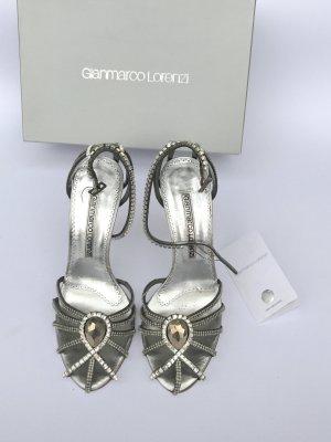 Original Gianmarco Lorenzi High Heels Gr 38,5 (passt einer 39) silber glitzer Stiletto