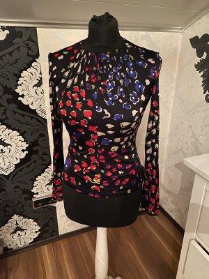 Original Gianni Versace Damen Langarm Bluse schwarz Bunt Rundhals gerafft Gr. S