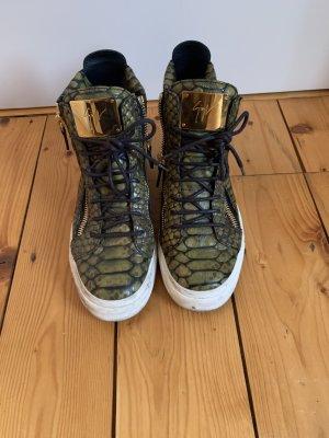 Original Giuseppe Zanotti Sneaker in grün Krokooptik
