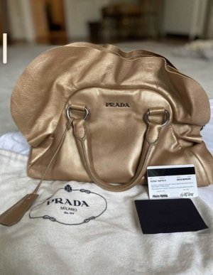 Original GoldBeige Prada Tasche mit Nappa Leder