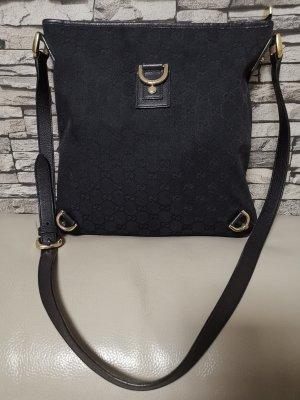 Original Gucci Abbey Leder Monogramm Tasche Umhängetasche schwarz