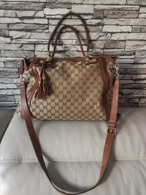 Original Gucci GG Canvas Tasche Bella Bag braun Leder