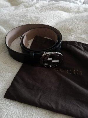 Gucci Leather Belt black-silver-colored