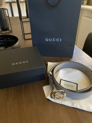 Gucci Leather Belt light grey