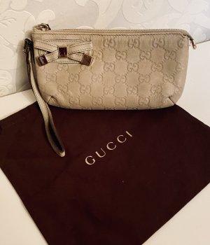 Original Gucci Leder Handtasche clutch kleine Tasche Kosmetiktasche Beige