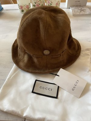 Gucci Cloche Hat light brown leather