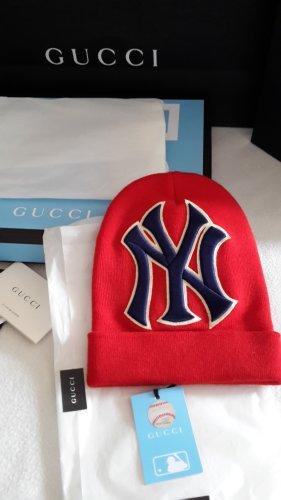 Gucci Cappello a maglia rosso neon-blu Cotone