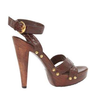 Gucci Platform High-Heeled Sandal brown red leather