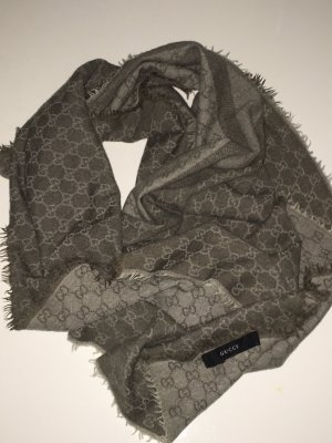 Original Gucci Schal,grau,bicolor, 120cm, 2-seitig, Winterware