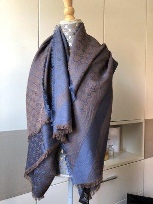 Gucci Bufanda de seda azul oscuro-color bronce