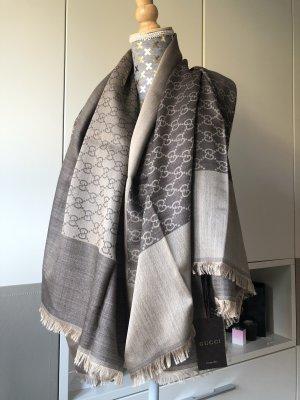Gucci Bufanda de seda marrón grisáceo-marrón-negro